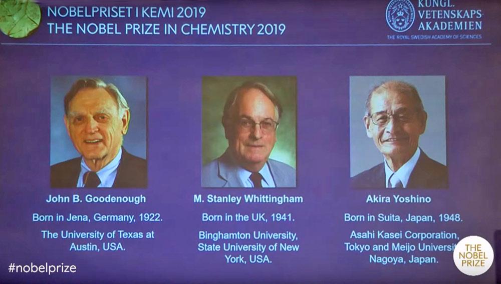 Нобелевскую премию по химии дали за разработку литий-ионных аккумуляторов